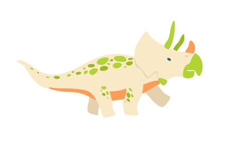 Flat cartoon style cute dinosaur.  Vector illustration for kids fashion, card or poster best for children room decoration, kids dino party designs. Çizim