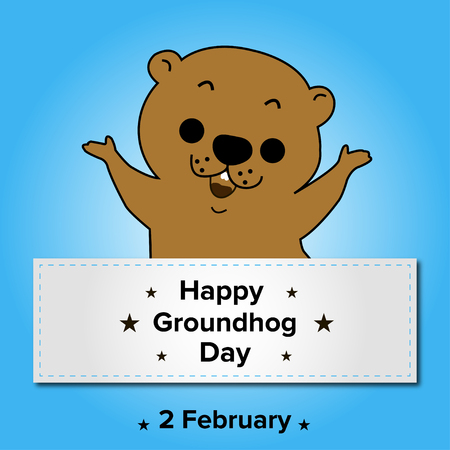 woodchuck: Happy Groundhog Day on a blue  background