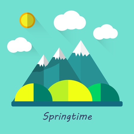 fresh air: Color vector flat icons, illustrations spring :, mountains, sun, clouds, trees, nature walks, fresh air  field