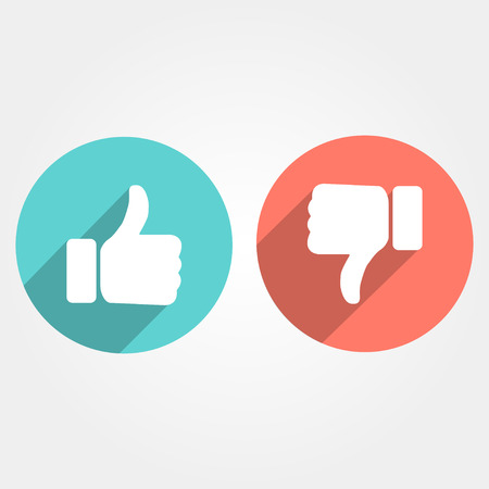 disagree: Thumbs up and down with long shadow