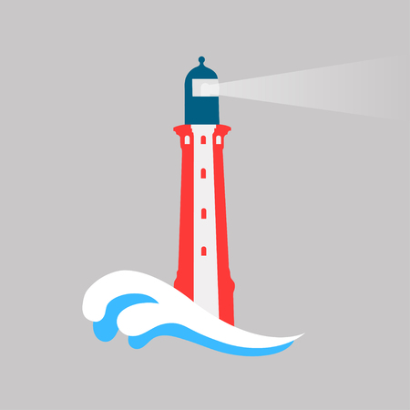 Lighthouse on a gray background  with wave