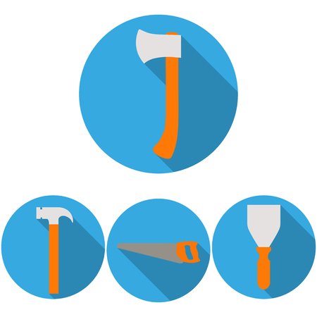 Set of icons of building tools on a gray background  in the circle
