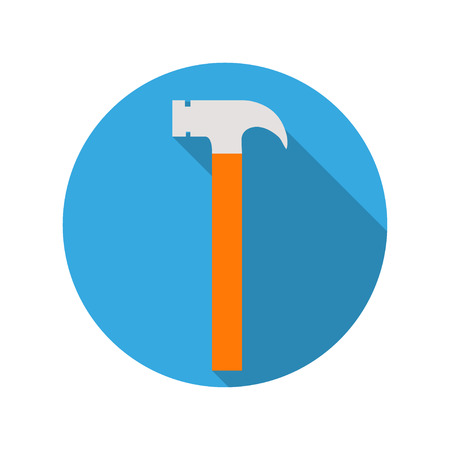 Icon mallet in a blue circle with a  shadow