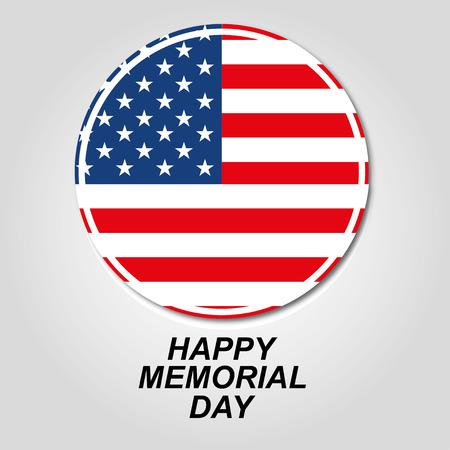 Día de América en memoria de un círculo con una bandera sobre un fondo gris