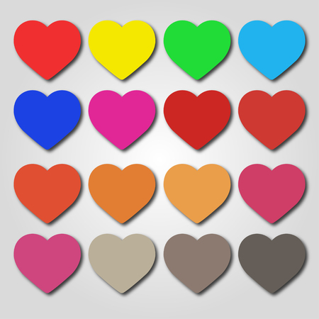 Set of multi-colored Hearts on a gray background