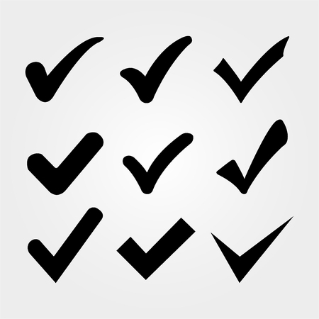 Set of check marks on a gray background