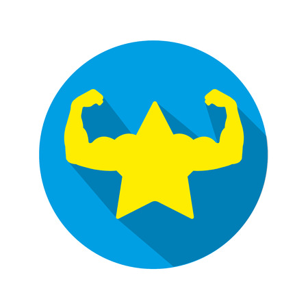 Super strong Muscled star on a blue background in a circle with shadow