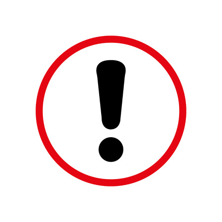 Warning sign exclamation mark in a circle of care Иллюстрация