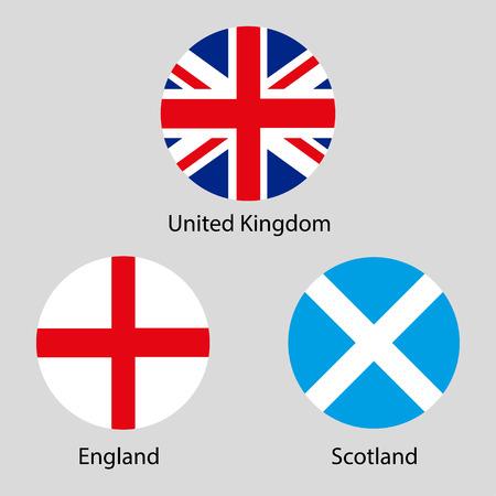 briton: Three countries United Kingdom London Scotland Illustration