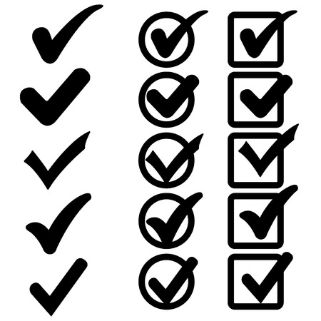 confirm: Confirm mark icons on a white background Illustration