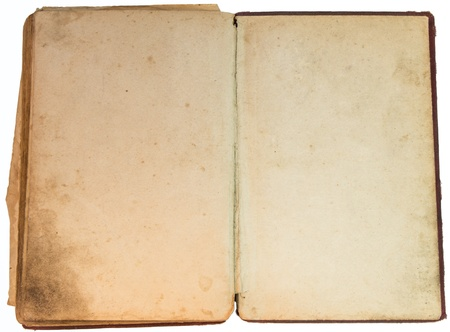 Old yellow hand-written book isolated on white background