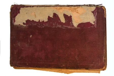Old red textile cover of hand-written book isolated on white background Stock Photo