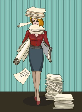 Woman office worker with stack of documents Vector