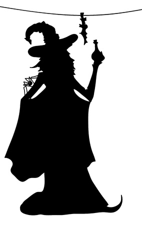 Young sexy witch silhouette with poison and spider Illustration