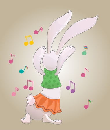 Easter multicolor dancing cute rabbit with notes