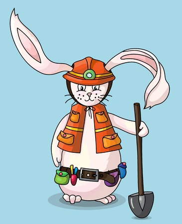 Smiling rabbit with safety helmet, holding a shovel in his hand Stock Vector - 19934712