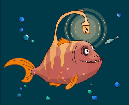 Cute pink Angler fish underwater with his small friend