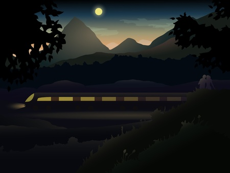 Two lovers in the hills and mountains observing Night Train   Easy to edit because of many named layers  All items are layered in for easy removal Stock Vector - 19934718