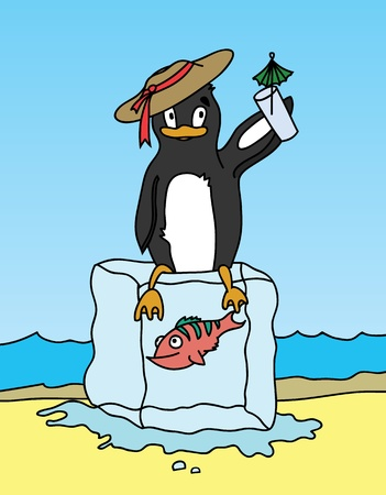 Happy penguin holding a drink and sitting on block of ice  Vector