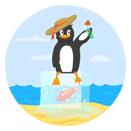 Happy penguin holding a drink and sitting on block of ice   Easy to edit because of many named layers  All items are layered in for easy removal
