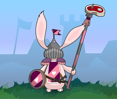 Rabbit Medieval Knight with Sword and Spear   Easy to edit because of many named layers  All items are layered in for easy removal  Vector