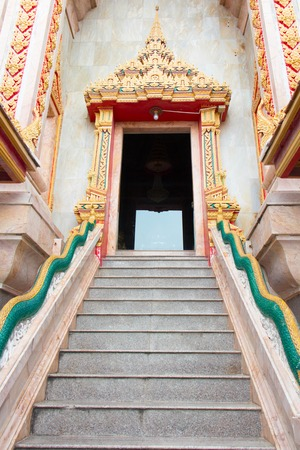 High stair in Buddhist temple in Asia, Thailand