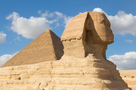 View of the Sphinx Egypt, The Giza Plateau in the Sahara Desert 写真素材