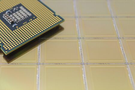 Computer Chip CPU put on silicon wafer with microchip