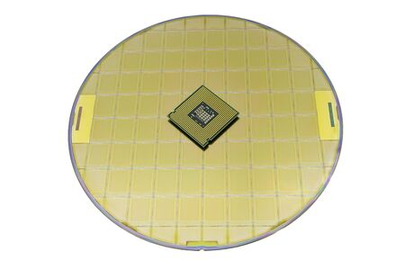 Photo of a Computer Chip CPU put on silicon wafer with microchip gold color. Isolated on white background Reklamní fotografie
