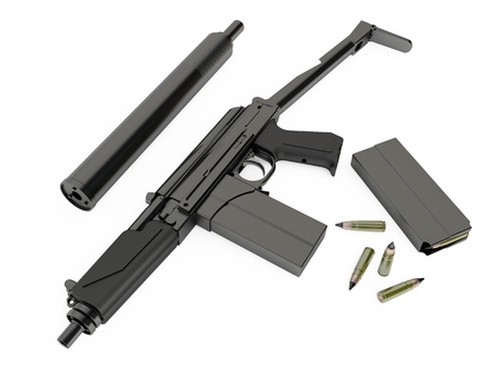 silencer: Model of the Russian special submachine-gun with silenced on white background Stock Photo
