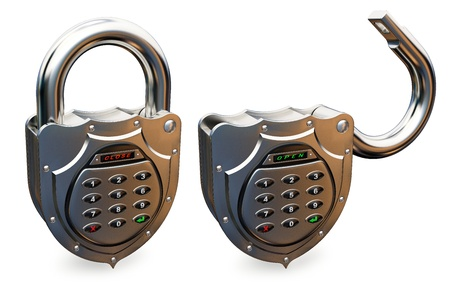 reliability: closed and opened combination padlock on white background Stock Photo
