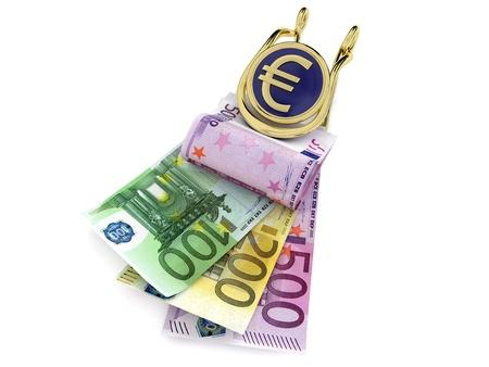 banconote euro: Banconote in euro in clip di denaro su sfondo bianco