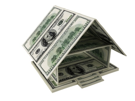 Model of the house of dollars on white background Stock Photo - 10057187