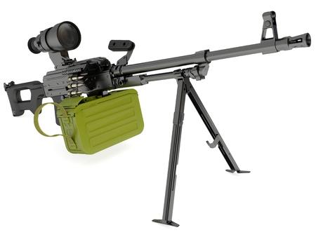 Model of the Russian gun modernized machine gun with night sights on white background Stock Photo - 10057202