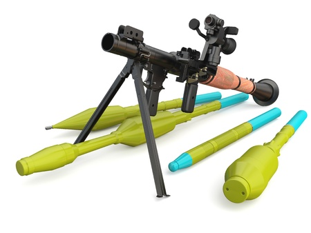 hand grenade: Model of the Russian hand-held antitank grenade launcher RPG-7V2 on white background