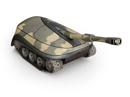 internet buttons: computer mouse in form of a tank on white background