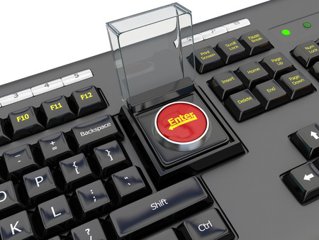 red button: black computer keyboard with red start button