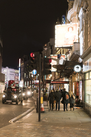 shaftesbury avenue: Famous Shaftesbury Avenue at Theatre district LONDON, ENGLAND - FEBRUARY 22, 2016