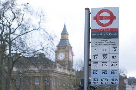 London Bus Stop Horse Guards Parade LONDON, ENGLAND - FEBRUARY 22, 2016 報道画像