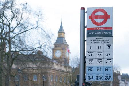 London Bus Stop Horse Guards Parade LONDON, ENGLAND - FEBRUARY 22, 2016 Editorial
