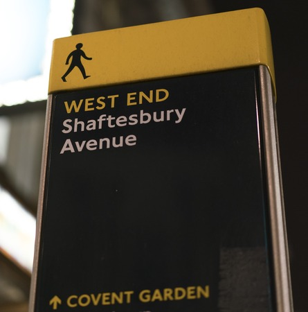 west end: Shaftesbury Avenue in London West End LONDON, ENGLAND - FEBRUARY 22, 2016