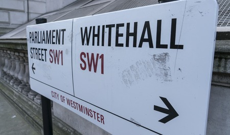 parliament square: Direction signs Whitehall and Parliament Square LONDON, ENGLAND - FEBRUARY 22, 2016