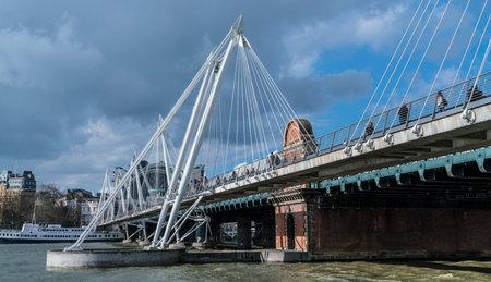 jubilee: Golden Jubilee Bridge London LONDON, ENGLAND - FEBRUARY 22, 2016
