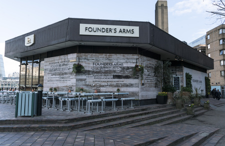 founders: Founders Arms Pub at River Thames LONDON, ENGLAND - FEBRUARY 22, 2016 Editorial