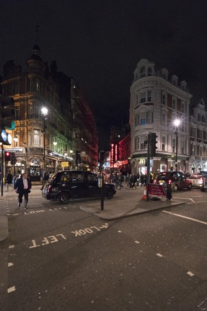 shaftesbury: Street view at Shaftesbury Avenue at West End LONDON, ENGLAND - FEBRUARY 22, 2016