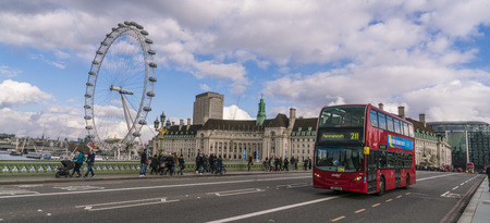 London Bus and London Eye LONDON, ENGLAND - FEBRUARY 22, 2016