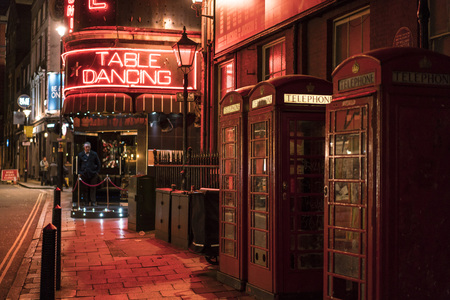 west end: Famous Windmill Table Dance bar at Londons West End - Soho LONDON, ENGLAND - FEBRUARY 22, 2016 Editorial