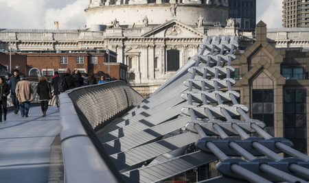 millennium: Millennium Bridge Pedestrian Bridge over River Thames LONDON, ENGLAND - FEBRUARY 22, 2016 Editorial