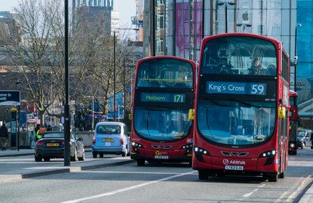 london bus: London bus on Waterloo Bridge LONDON, ENGLAND - FEBRUARY 22, 2016
