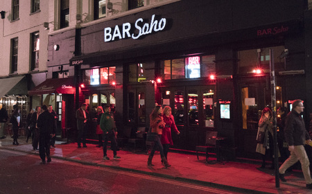 west end: Bar Soho at Londons West End, LONDON, ENGLAND - FEBRUARY 22, 2016 Editorial
